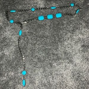 Blue and silver chain belt